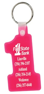 Wholesale Number One Soft Plastic Key Fobs