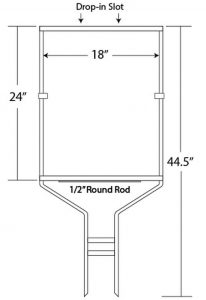 """24"""" x 18"""" Drop-In Round Rod Frame"""